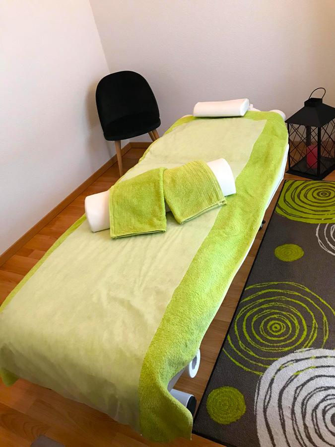 Table de massages du Cabinet Daniela Hummel à Yverdon